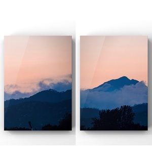 Peach sunset mountain landscape wall art prints